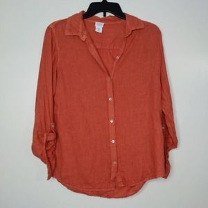 S Sigrid Olsen Linen Orange Top Tee Shirt Blouse